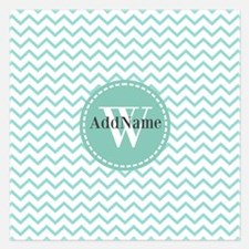 Modern Light Aqua Chevron M Invitations