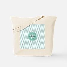 Modern Light Aqua Chevron Monoram Tote Bag