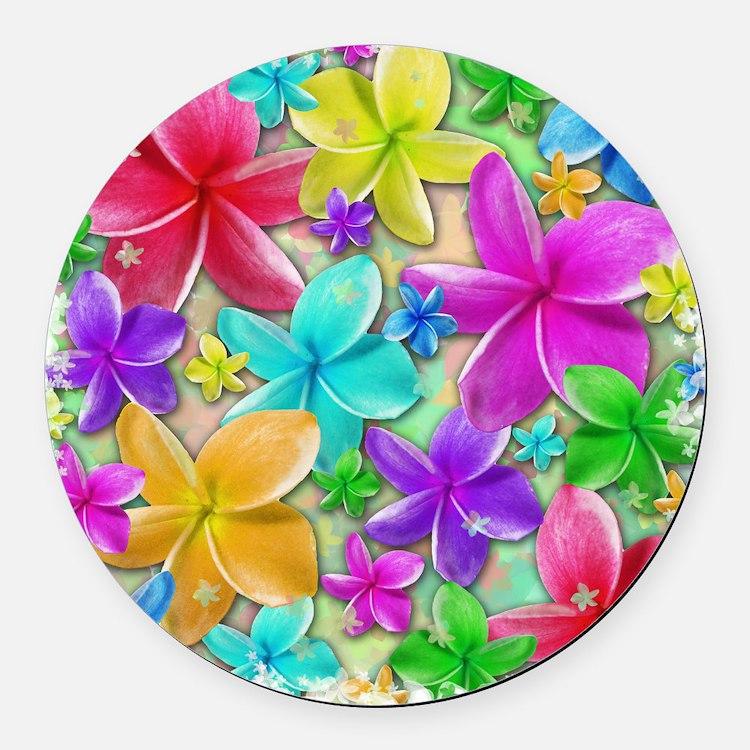 Plumerias Flowers Dream Round Car Magnet
