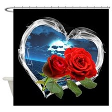 Red Roses Smokey Heart Shower Curtain