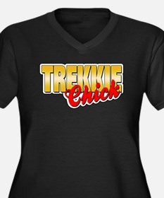 Trekkie Chic Women's Plus Size V-Neck Dark T-Shirt