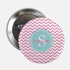 "Aqua Monogram Chevron Strip 2.25"" Button (10 pack)"