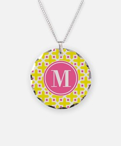 Monogram Cross Pattern Yellow and Pink Necklace