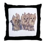 3 Little Yorkies Throw Pillow