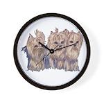 3 Little Yorkies Wall Clock