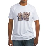 3 Little Yorkies Fitted T-Shirt