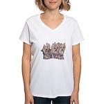 3 Little Yorkies Women's V-Neck T-Shirt