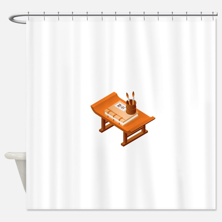 Chinese Books Pencil Table Shower Curtain