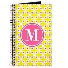 Monogram Cross Pattern Yellow and Pink Journal