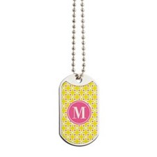 Monogram Cross Pattern Yellow and Pink Dog Tags