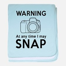 Warning may snap photographer baby blanket