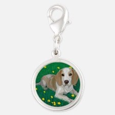 Beagle Bliss Silver Round Charm