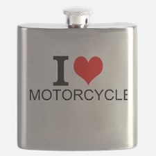 I Love Motorcycles Flask