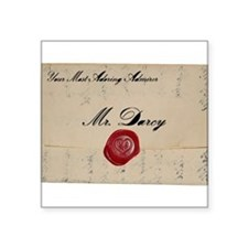 "Mr Darcy Love Letter Square Sticker 3"" x 3"""