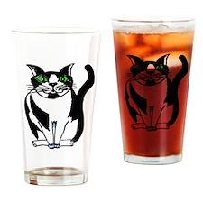 Chubby Black and White KwazyKatz Drinking Glass