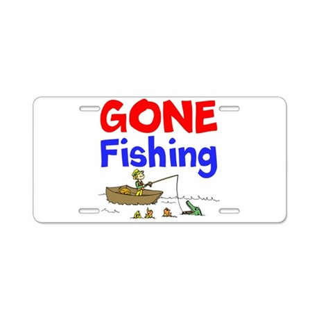 Gone fishing aluminum license plate by sportsandmoresports for Fishing license plate