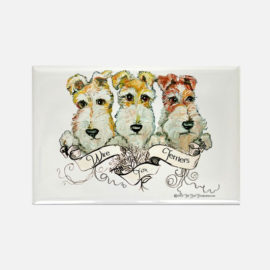 Fox Terrier Trio Rectangle Magnet