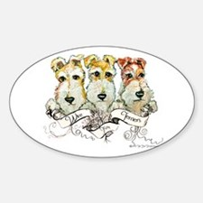 Fox Terrier Trio Oval Decal