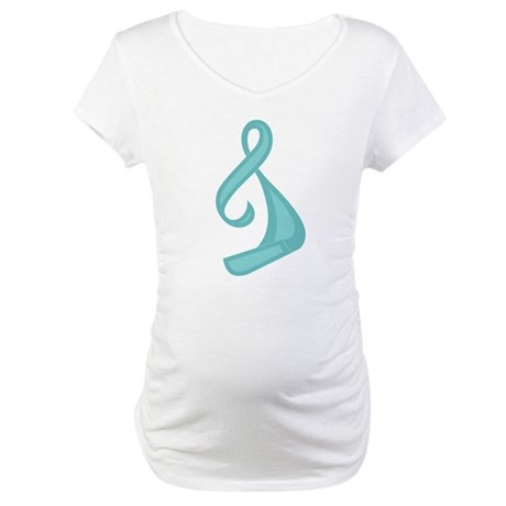 """""""Teal Ribbon Twist"""" Maternity T-Shirt"""