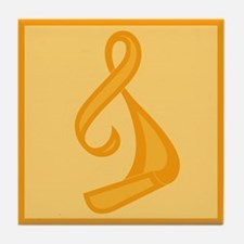"""Orange Ribbon Twist"" Tile Coaster"
