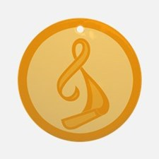 """Orange Ribbon Twist"" Ornament (Round)"