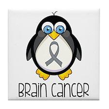 Brain Cancer Penguin Tile Coaster