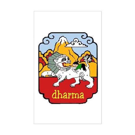 Snow Lion + Dharma Sticker (Rect.)