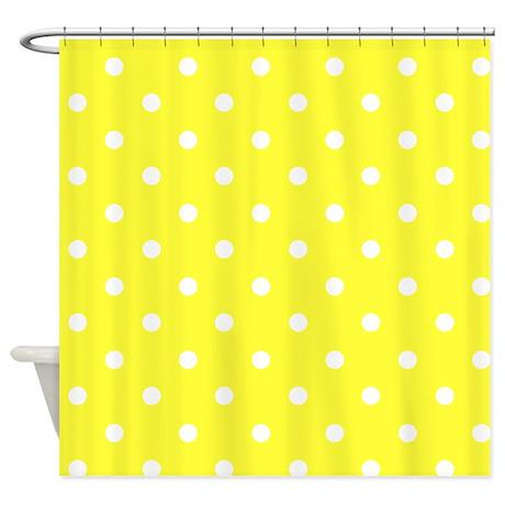 Yellow White Polkadot Shower Curtain By Makanahele1