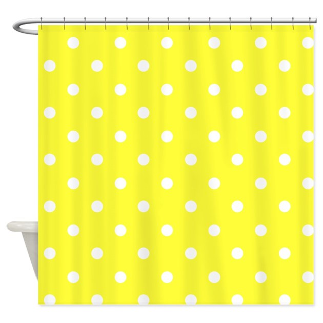 yellow white polkadot shower curtain by makanahele1. Black Bedroom Furniture Sets. Home Design Ideas