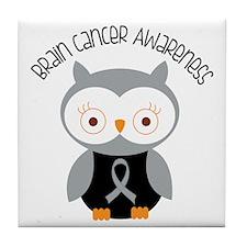 Brain Cancer Gray Owl Tile Coaster