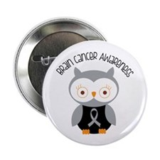 """Brain Cancer Gray Owl 2.25"""" Button (10 pack)"""