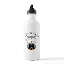 Brain Cancer Gray Owl Water Bottle