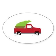 Red Christmas Truck Decal