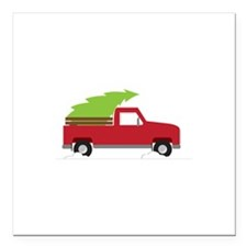 """Red Christmas Truck Square Car Magnet 3"""" x 3"""""""