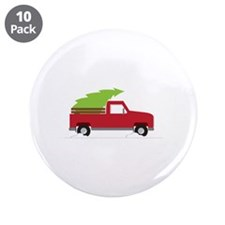 "Red Christmas Truck 3.5"" Button (10 pack)"