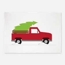 Red Christmas Truck 5'x7'Area Rug