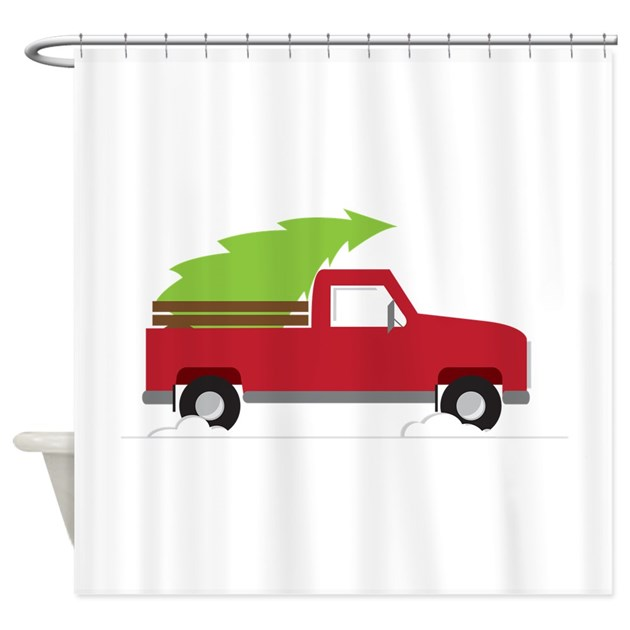 Red Christmas Truck Shower Curtain By Concord24