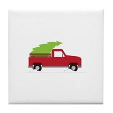Red Christmas Truck Tile Coaster