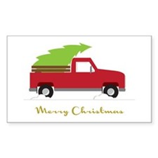 25. Red Pick up Truck Christmas Tree Decal