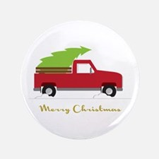"""25. Red Pick up Truck Christmas Tree 3.5"""" Button ("""