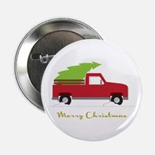 "25. Red Pick up Truck Christmas Tree 2.25"" Button"