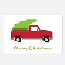 25. Red Pick up Truck Christmas Tree Postcards (Pa