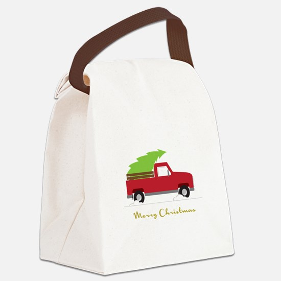 25. Red Pick up Truck Christmas Tree Canvas Lunch