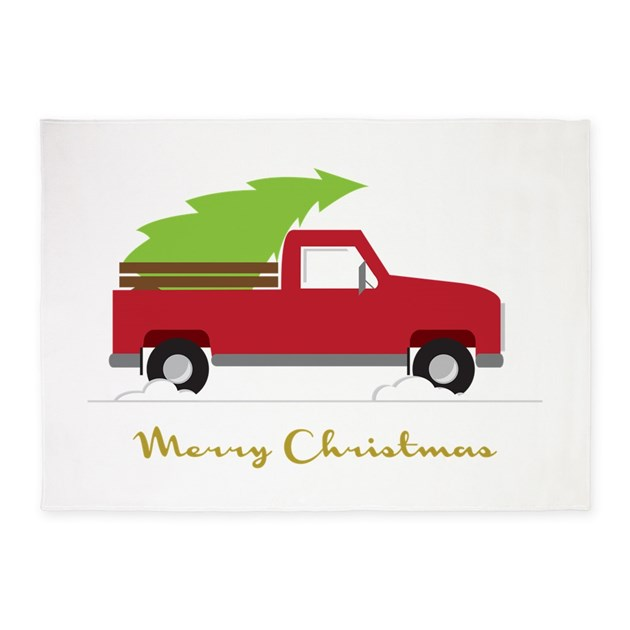 25. Red Pick Up Truck Christmas Tree 5'x7'Area Rug By