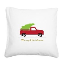 25. Red Pick up Truck Christmas Tree Square Canvas