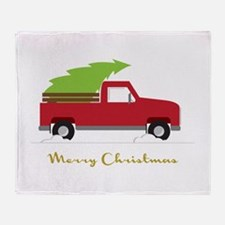 25. Red Pick up Truck Christmas Tree Throw Blanket