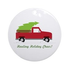 Hauling Holiday Cheer Ornament (Round)