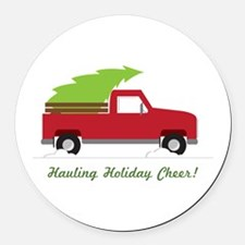 Hauling Holiday Cheer Round Car Magnet