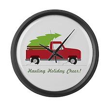 Hauling Holiday Cheer Large Wall Clock
