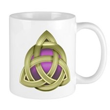 Modern Gold Triquerta with Pink Glow Mugs
